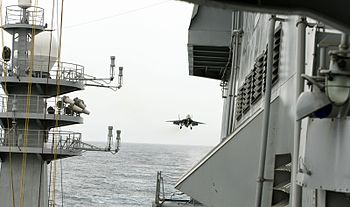 A MiG-29K approaches INS Vikramaditya during Narendra Modi's visit.jpg