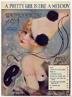 "Sheet music cover of ""A Pretty Girl Is li..."