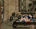 A couple making love in a well-appointed room, while a boy l Wellcome V0047306.jpg