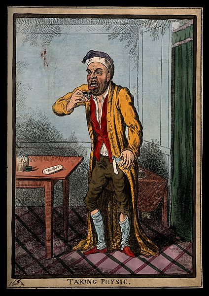 File:A man pulling a peculiar face as he is about to take some me Wellcome V0011211.jpg