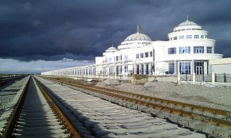 Railway town - Bereket (Kazandzhik) in Turkmenistan. The town originated from a railway station built in 1885. The city is now an important crossroad of the old Trans-Caspian Railway and new North-South Transnational Railway.