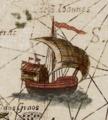 A ship north of Seram Insulae Moluccae celeberrimæ sunt ob Maximamaromatum copiam quam per totum terrarum orbem mittunt.png