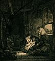 A woman breast feeding her baby in the family's home and wor Wellcome V0015025.jpg