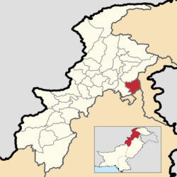 A map showing the location of Abbottabad District within Khyber Pakhtunkhwa Province