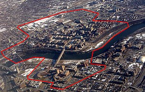 Aerial of the Minneapolis campus, on both sides of the Mississippi River