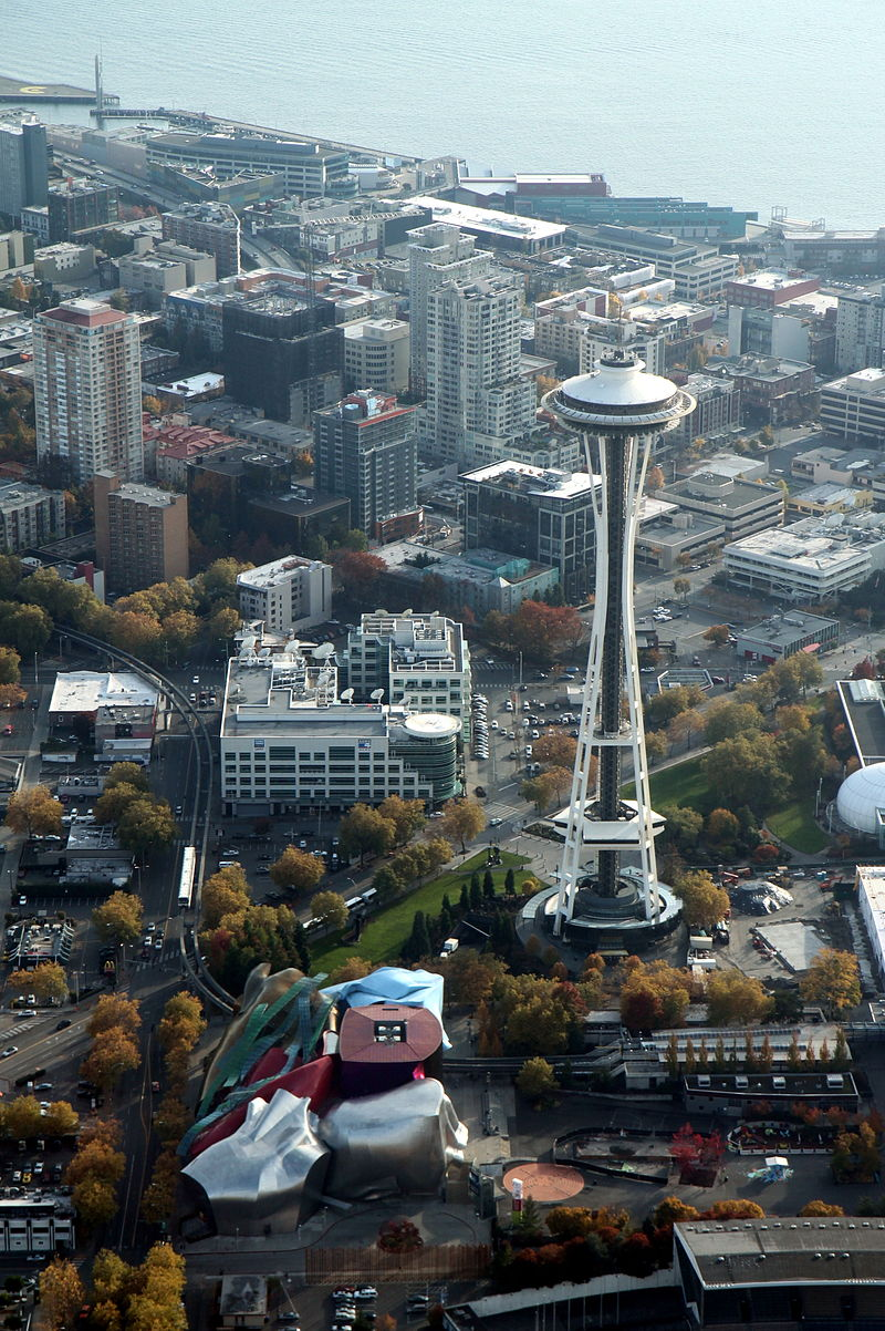 Aerial Space Needle and EMP - November 2011.JPG
