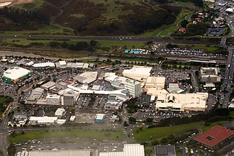 Porirua - Aerial view of Porirua City Centre and Porirua Station (upper right).