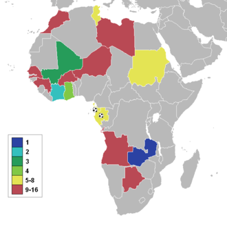 2012 Africa Cup of Nations - A map of Africa showing the qualified nations, highlighted by stage reached.