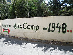 Mural at the entrance to Aida camp