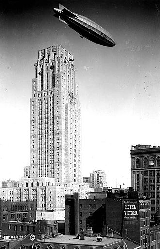 Commerce Court - The British airship R100 flying over the Commerce Court North Building during its sole trans-Atlantic voyage in August 1930.