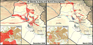 Ninawa campaign - A U.S. military map used by General Petraeus in Congressional testimony in April 2008. The dark red areas represent regions where insurgents are capable of conducting operations, while the light red regions highlight insurgent transit routes.