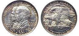 Alabama Centennial half dollar, obverse (left) and reverse (right)