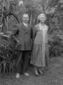 Albert Percy Godber and Laura Godber in their garden at Silverstream, probably on the day of their daughter's wedding ATLIB 313158.png