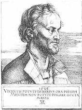 Porträt des Philipp Melanchthon, nach einem Kupferstich von Albrecht Dürer, aus dem Jahr 1526 (Quelle: Wikimedia)