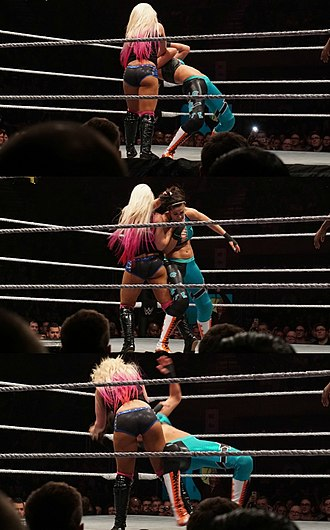 Alexa Bliss - Alexa Bliss executing a chokehold STO on Bayley