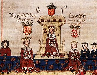 History of Scotland - King Alexander III of Scotland on the left with Llywelyn, Prince of Wales on the right as guests to King Edward I of England at the sitting of an English parliament.