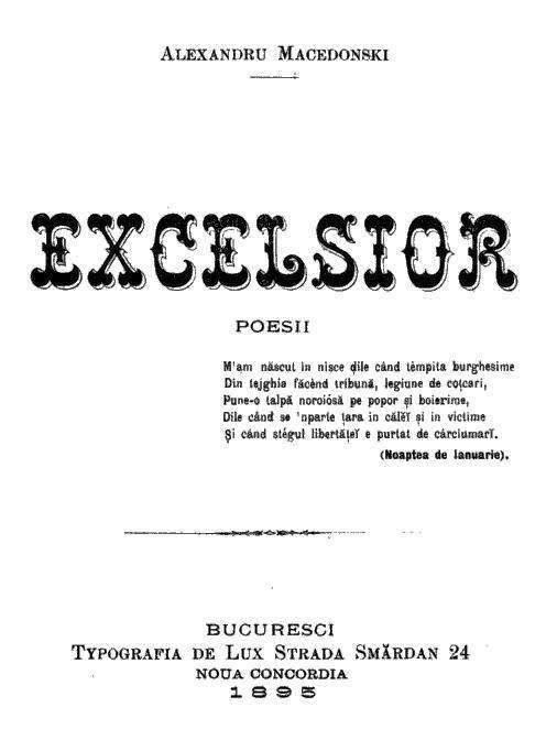 Alexandru Macedonski - prima pagina - Excelsior