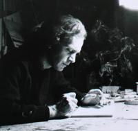 Alexis Akrithakis in his studio, Berlin, 1969.png