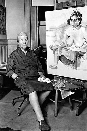 Alice Neel - Alice Neel portrait in her studio photographed by Lynn Gilbert (1976)