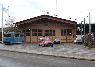 Djurgårdslinjen - Alkärrshallen, the tram depot before the 2010 extension