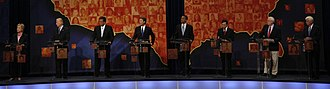 2008 Democratic Party presidential debates and forums - Candidates at the All American Presidential Forum on PBS. (From left to right) Clinton, Biden, Richardson, Edwards, Obama, Kucinich, Gravel, and Dodd
