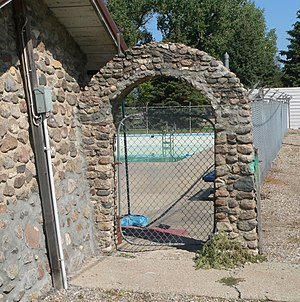 National Register of Historic Places listings in Jerauld County, South Dakota - Image: Alpena, SD, swimming pool bathhouse E arch 1