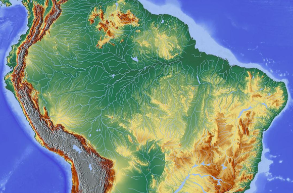 Topography of the Amazon River Basin Amazonas und Reliefkarte.png