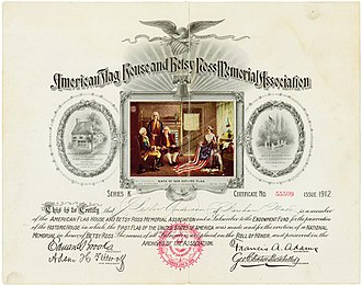 Betsy Ross - Certificate of the American Flag House and Betsy Ross Memorial Association, issued 1912; at left and right vignettes of the Betsy Ross House and with the then current grave site of Betsy Ross.