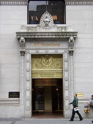 American Surety Building - 100 Broadway entrance in 2007.