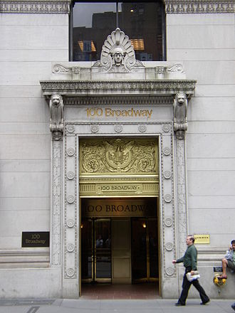 American Surety Building - 100 Broadway entrance in 2007.