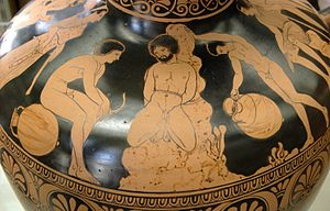 Amykos - Amycus punished, red-figured Lucanian hydria, end of 4th century BC, Cabinet des Médailles