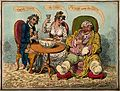 An obese gouty man drinking punch with two companions. Colou Wellcome V0010858.jpg