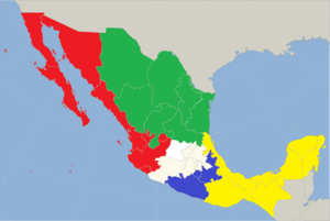 Anglican Church of Mexico - Map of dioceses of Anglican Church of Mexico