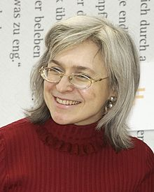 Politkovskaya during a March 2005 interview in Leipzig, Germany
