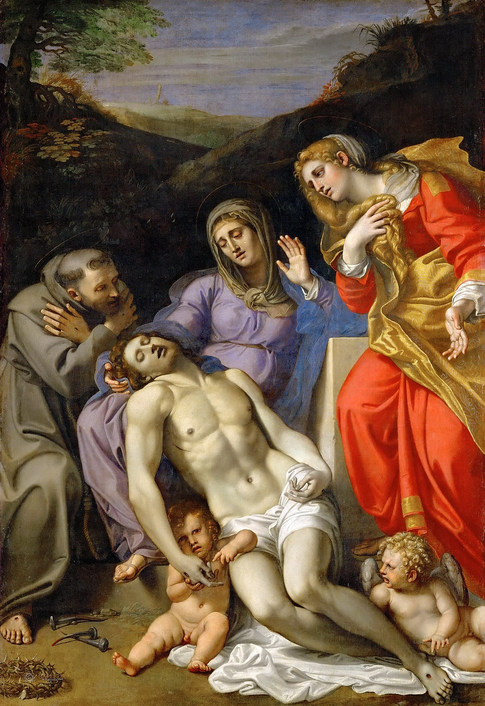 Annibale Carracci - Pietà with Sts Francis and Mary Magdalen - WGA4443