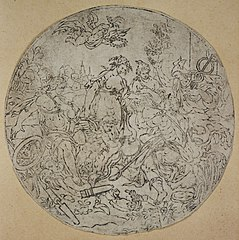 Medallion with gods and goddesses in a landscape