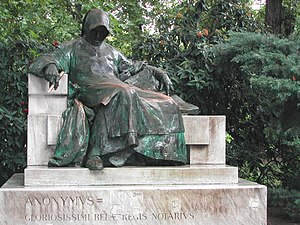 Gallus Anonymus - Statue, in Budapest's Vajdahunyad Castle, of Anonymus, author of The Deeds of the Hungarians and possibly of Gesta principum Polonorum.  Sculptor:  Miklós Ligeti