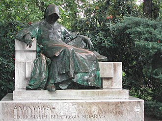 Anonymus (chronicler) - Statue of Anonymus in the City Park of Budapest. Created by Miklós Ligeti in 1903.