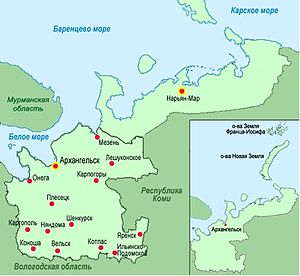 Green shaded map, labeled in Russian with red dots, of northern Russia