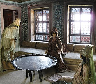 Valide sultan - Reconstructed scene of a Valide Sultan and her attendants in her apartments at Topkapı Palace.