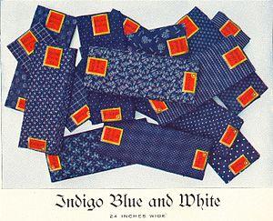 Roller printing on textiles - Image: Apc cloth indigo bw
