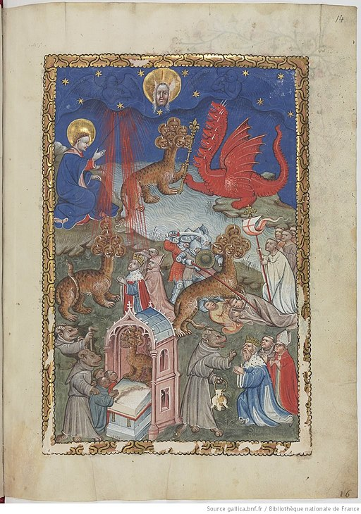 Apocalypse flamande - BNF Néerl3 f.14r Dragon, beast from the sea and false prophet