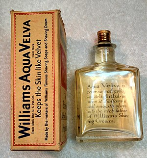 Aqua Velva - Original Aqua Velva Bottle from the 1930s. Shows back of bottle and side of box.