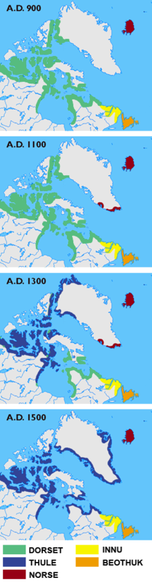 Greenland wikipedia maps showing the different cultures in greenland labrador newfoundland and the canadian arctic islands in the years 900 1100 1300 and 1500 gumiabroncs