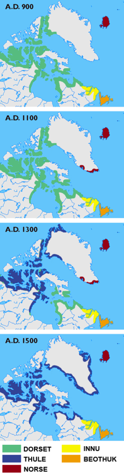 Maps showing the different cultures in Greenland, Labrador, Newfoundland and the Canadian Arctic islands in the years 900, 1100, 1300 and 1500. Green: Dorset Culture; blue: Thule Culture; red: Norse culture; yellow: Innu; orange: Beothuk Arctic cultures 900-1500.png