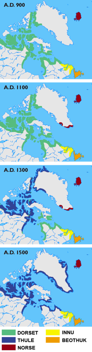 Skræling - Maps showing the different cultures in Greenland, Labrador, Newfoundland and the Canadian arctic islands in the years 900, 1100, 1300 and 1500. The green colour shows the Dorset Culture, blue the Thule Culture, red Norse Culture, yellow Innu and orange Beothuk