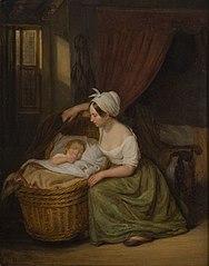 Portret van een onbekende moeder bij de wieg van haar kind
