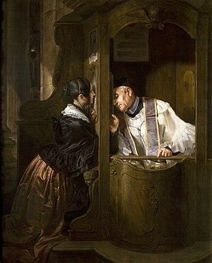 Giuseppe Molteni - La confessione, 1838 (Fondazione Cariplo)