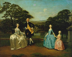 "Arthur Devis's ""conversation piece"" portrait of the East India Company's Robert James and family; 1751.[111]"
