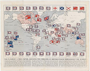 Map of the British Empire (as of 1910). At its height, it was the largest empire in history. Arthur Mees Flags of A Free Empire 1910 Cornell CUL PJM 1167 01.jpg